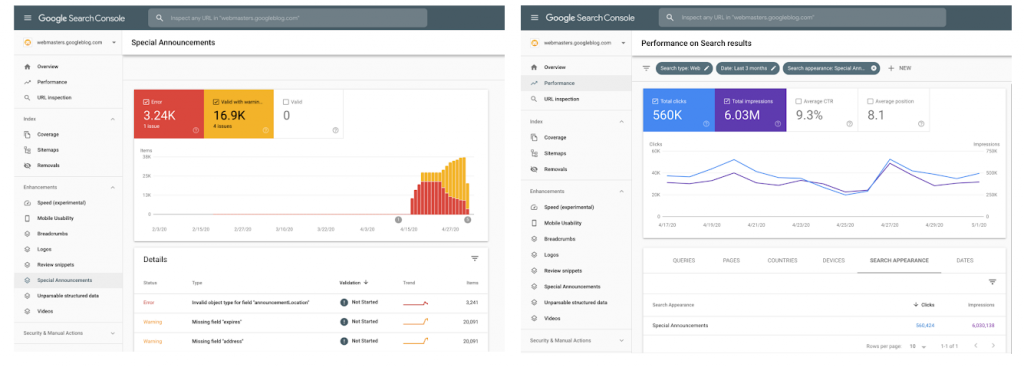 special announcement report Google Search Console corona update